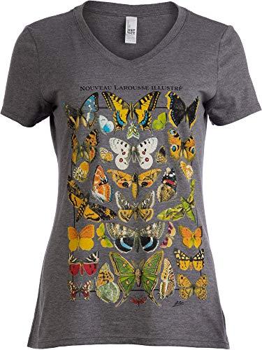 Vintage Butterfly Art | Cool Nature Illustration Butterflies V-Neck T-Shirt for Women-(Vneck,XL)
