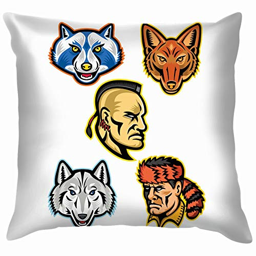 Mascot Icon Set Heads American People Wildlife Throw Pillow Case Cushion Cover Pillowcase Watercolor for Couch 12X12 Inch