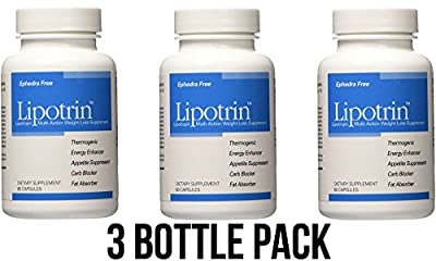 Lipotrin Carb Blocker and Fat Absorber (3 Bottle Pack) 180 Capsules