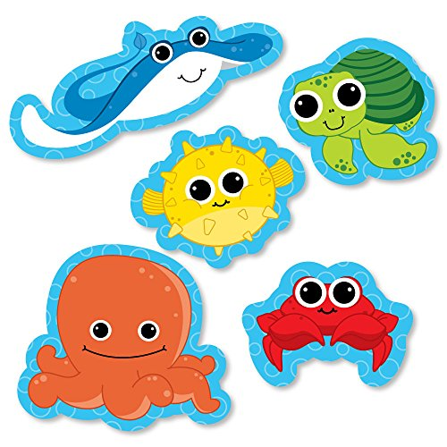 Under The Sea Critters - DIY Shaped Baby Shower or Birthday Party Cut-Outs - 24 Count -