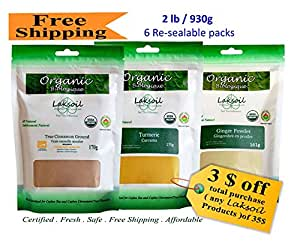 Certified Organic Total 2 LB/912g Pure Ceylon/True Cinnamon(1.3LB),Turmeric(6.1oz),and Ginger (5.9oz)Powder