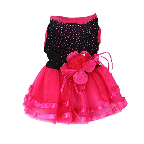 [PanDaDa Pet Dog Cat Yarn Skirt (Diamond Black and Red Roses Lace Trim)Cute Princess Summer Clothes Dog Wedding Dress] (Dada Life Costumes)