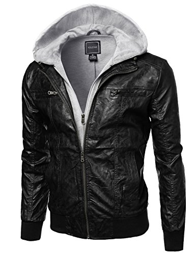 Refined faux-leather moto jacket with Fleece Hood Attached Black Size L