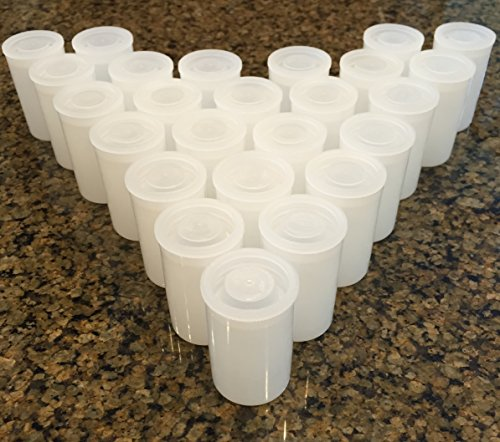 Film Canisters with Lids - Pack of 25 - Clear - Small Personal or Household Item Storage Containers - 35mm - Great for Alka Seltzer Rockets!