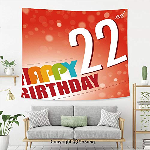 SoSung 22nd Birthday Decorations Wall Tapestry,Invitation to Happy Celebration of A New Age Bokeh Style Art Print,Bedroom Living Room Dorm Wall Hanging,80X60 Inches,Red -