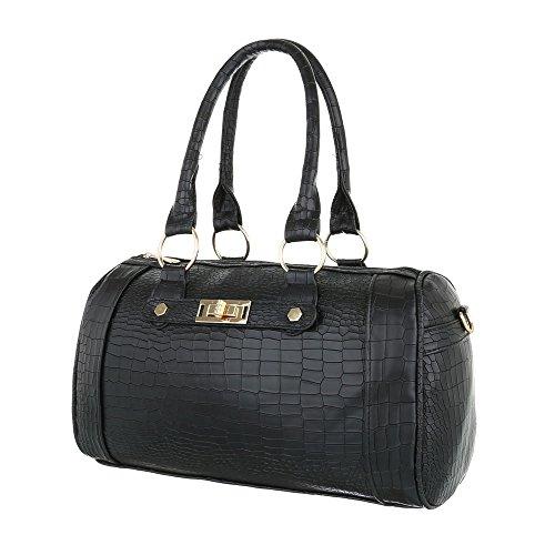 Schuhcity24 Taschen Handtasche Tragetasche Used Optik Schwarz