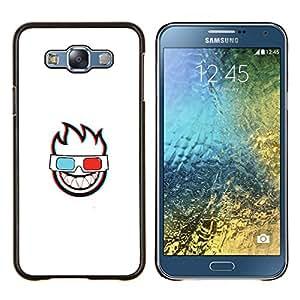 Caucho caso de Shell duro de la cubierta de accesorios de protección BY RAYDREAMMM - Samsung Galaxy E7 E700 - CARA LLAMEANTES 3D