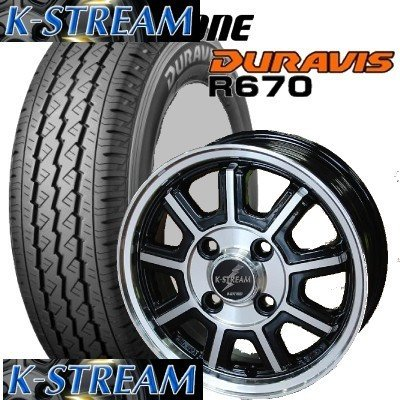 【アルミ付タイヤ4本セット】 BRIDGESTONE 145R12 6PR R670 12X4.00B 4穴 PCD:100 BahnsTech KStream/バーンズテック Kストリーム B01EFL8OY8