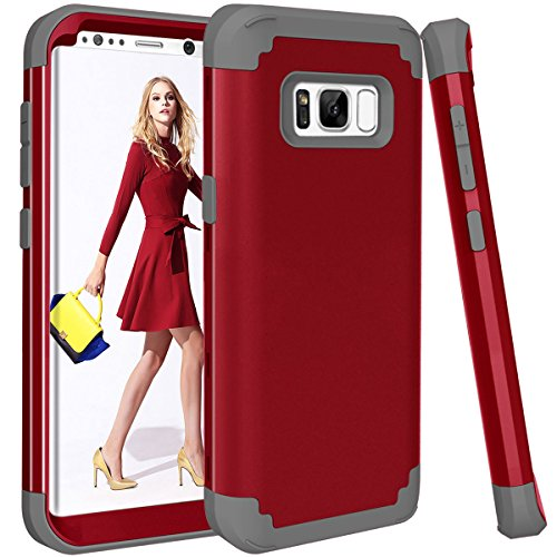 Galaxy S8 Plus Case, Dooge 3in1 Hybrid Impact Heavy Duty Armor Defender Full-Body Shockproof Anti Slip Protective Cover with Silicone&Hard Solid PC Bumper for Samsung Galaxy S8 + Plus 2017 - Red ()