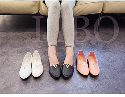 Gaorui Women Fashion Sweet Flats princess Shoe Metal V Loafer Ballet Pointy pointed Toe Black 0ZrqKOl6WM