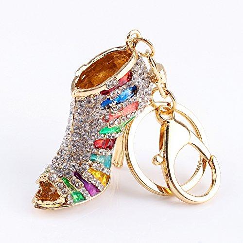 h Heel Shoe Decoration Keychain Multicolor Enamel Key Chain Car Key Ring Charm Gift for Women Phone Key Bag (Colorful) (Enamel Car Charm)