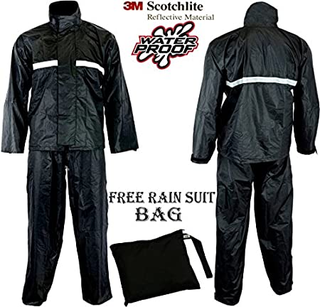 Combinaison noire 2 piè ces impermé able et ré flé chissante pour moto - Veste et pantalon SPEED MAXX LTD SM1111