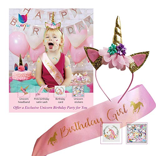 Smilkat Unicorn Birthday Party Supplies for Girls Set Favors & Decorations - Gold Glitter Unicorn Horn Headband + Pink Satin Sash + Unicorn Stickers + Birthday Card - 2018 New