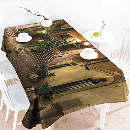 Water Resistant Table Cloth,Italian Decor Old Courtyard in Rome Italy Cafe Chairs City Ambience Houses Street,Party Decorations Table Cover Cloth,W60x84L Orange Brown Green ()