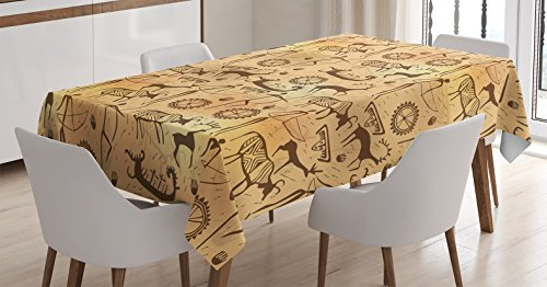 Primitive Decor Tablecloth by Ambesonne, Dated Irregular Caveman Paint Forms with Bird and Cow Shape Early Modern Humans Artwork, Dining Room Kitchen Rectangular Table Cover, 52 X 70 Inches, Tan Brown ()