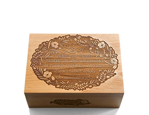 Hardwood Gift Box (Love Never Ends - Wood Laser Cut Keepsake Box (Wedding Gift / 5th Anniversary / Heirloom / Decorative / Handmade))