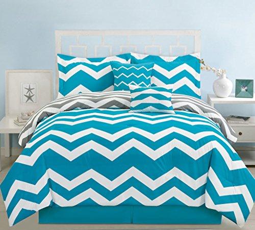 10 Piece King Chevron Teal Bed in a Bag w/500TC Cotton Sheet (Stripe 10 Piece Bedding Ensemble)