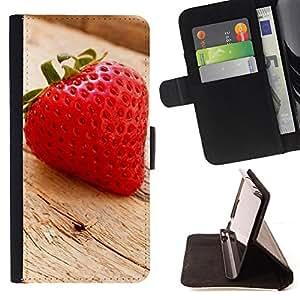 BullDog Case - FOR/Samsung Galaxy S6 / - / Fruit Macro Wood Strawberry /- Monedero de cuero de la PU Llevar cubierta de la caja con el ID Credit Card Slots Flip funda de cuer