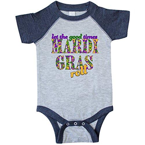 Inktastic - Mardi Gras- Let the Infant Creeper Newborn Vintage Heather and Navy