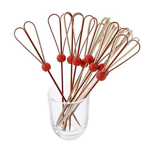 CiboWares 6'' Red Bamboo Heart Knot Picks with Ball, Case of 10,000 by CiboWares (Image #3)