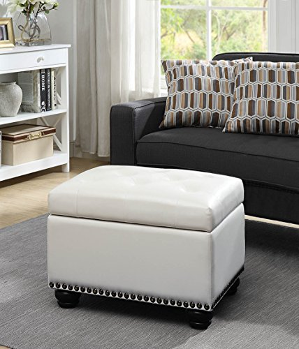 Convenience Concepts 163010W Designs4Comfort 5th Avenue Storage Ottoman, Ivory