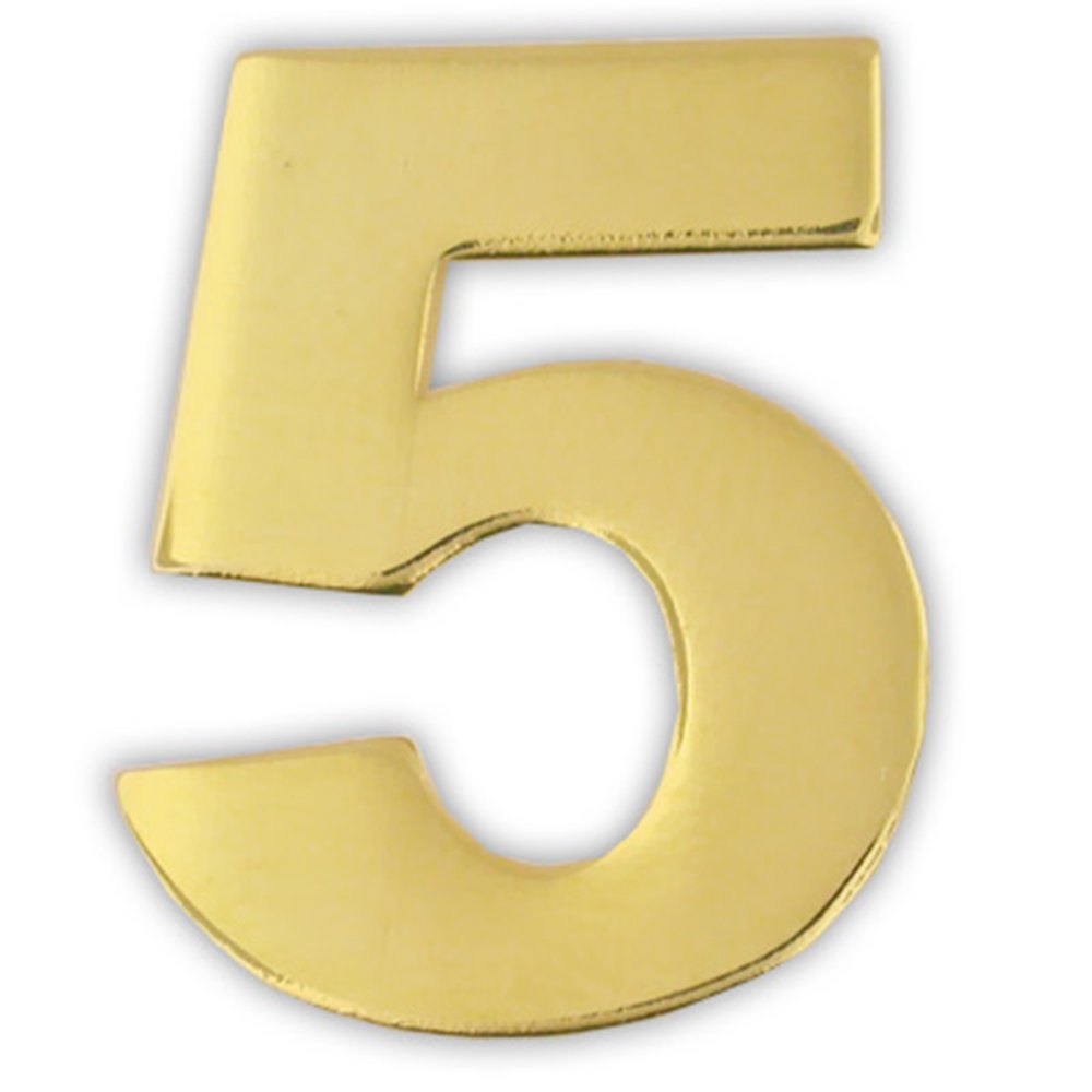 PinMart's Gold Numerical Number Five # 5 Lapel Pin