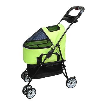 NYJ Cochecito para mascotas Vagoneta con compartimento convertible Manija reversible Cochecito de paseo Carrito para trotar