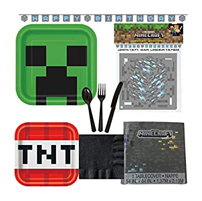 Minecraft Birthday Party Supplies for 16 Guests - Plates, Tablecover, Banner, Cutlery, Napkins