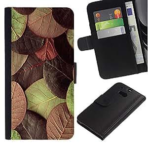KingStore / Leather Etui en cuir / HTC One M8 / Hojas de otoño verde marrón