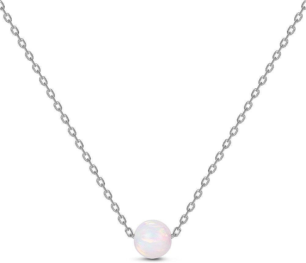 Sweetiee collar de plata de ley 925, con colgante de cuenta de Ópalo, plata, 400mm