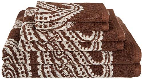 Superior Collection Luxurious Paisley 100% Premium Combed Cotton 6-Piece Towel Set, Chocolate