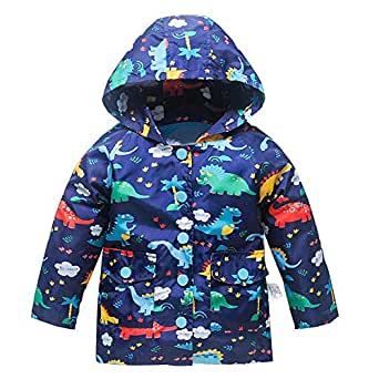 Kids Lightweight Jackets for Girls Boys Hooded Windbreaker Rain Coat with Mesh Liner - Blue - 3T
