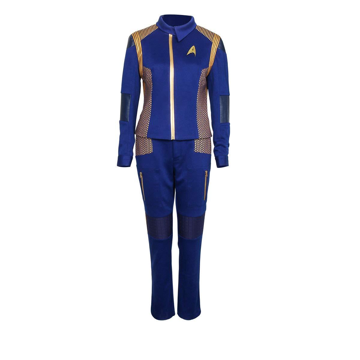 Partyever Trek Discovery Commander Uniform 2017 New Starfleet USS Discovery Captain Lorca Cosplay Costume Halloween Outfit (Large, Women)