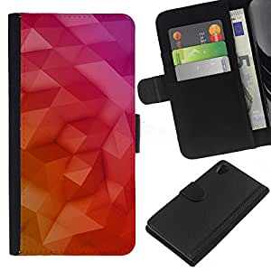 WINCASE (No Para Z2 Compact) Cuadro Funda Voltear Cuero Ranura Tarjetas TPU Carcasas Protectora Cover Case Para Sony Xperia Z2 D6502 - arte polígono púrpura amarilla 3d rosa roja