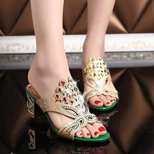 de de Sandalias Sandalias del para Mujeres Mujeres Zapatos OHQ Grandes Imitación Las Manera de Diamante de la Nuevas Alto de Verano Señoras del Sandalias Verde Tacón Playa qxfHwwA4E0