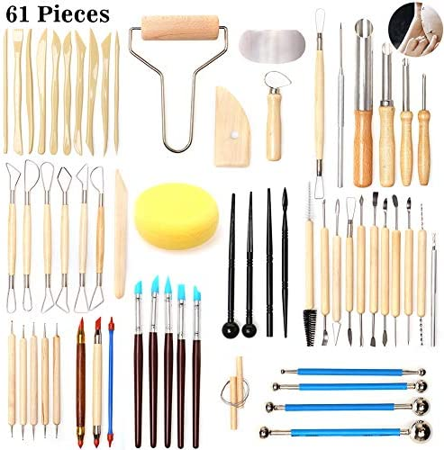61pieces Pottery & Clay Sculpting Tool Setsyazi Sculpting Carving ToolDIY Modeling Carving Wooden Ceramic Tools Full Set Ball Stylus Dotting Tools for Professional or Beginners