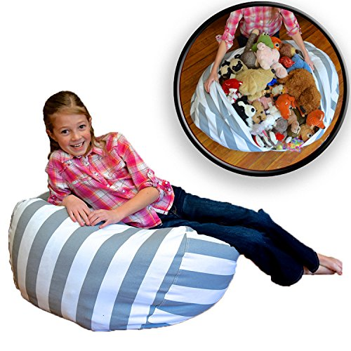 EXTRA LARGE - Stuffed Animal Storage Bean Bag Chair - Premium Cotton Canvas - Clean up the Room and Put Those Critters to Work for You! - By Creative QT (38