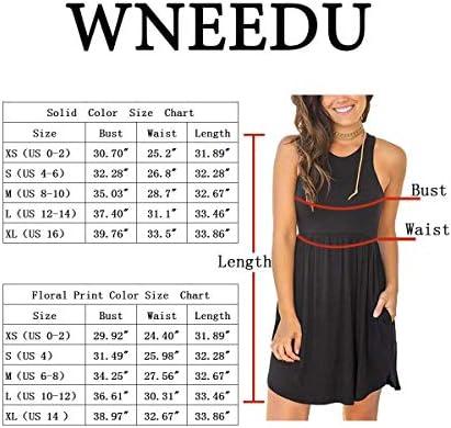 WNEEDU Women Long Sleeve Loose Plain Dresses Casual Short Dress with Pockets