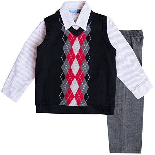 Good Lad Toddler Boy 3 Piece Black Argyle Sweater Vest Set