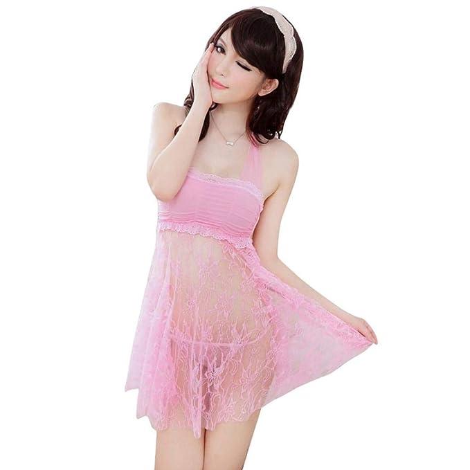 Mujer Conjunto De Pijama Verano Colores Sólidos Batas + Camisón Vestido Corpiño 2 Pedazos Elegantes Fashionista Moda Sleeveless Off Shoulder Encaje ...