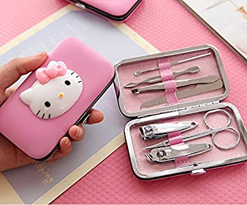 47db367b8 Amazon.com : Viproo® Stainless Steel 7pcs Cute Hello Kitty Nail Clippers  Nipper Cutter Pedicure Manicure Set Kits Tools Nail Accessories (Kitty) :  Beauty
