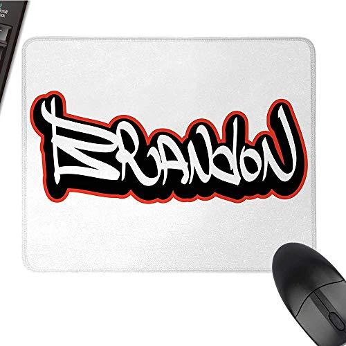 BrandonOffice Mouse PadUrban Street Culture Hip-hop Theme Lettering Individual Name DesignWaterproof Mice Pad 9.8