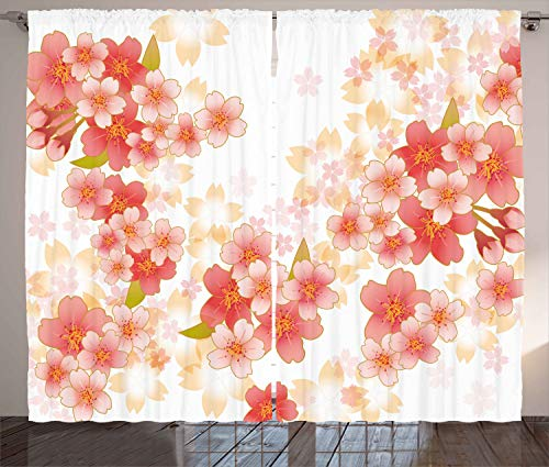 Ambesonne Floral Curtains, Japanese Sakura Flowers Cherry Blossoms in Vibrant Colors Illustration, Living Room Bedroom Window Drapes 2 Panel Set, 108