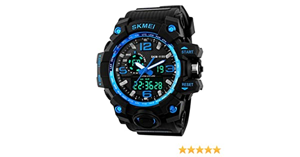 Amazon.com: SKMEI Big Dial Men Digital Watch Military Clock Sports Watches Water Resistant Calendar LED Dual Display Wristwatches 1155: Cell Phones & ...