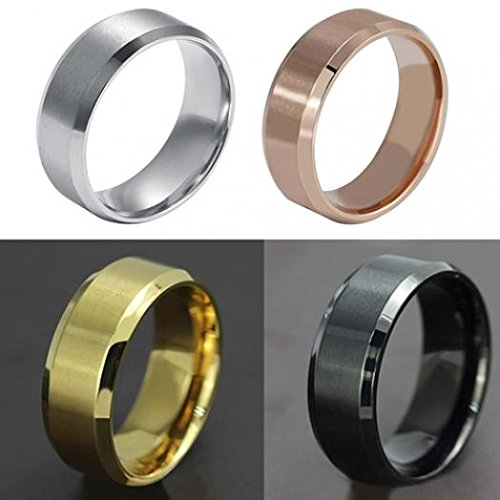 Ameesi 8mm Men's Women's Fashion Titanium Steel Polished Band Ring Wedding Jewelry - Rose Gold US 7 by Ameesi (Image #4)