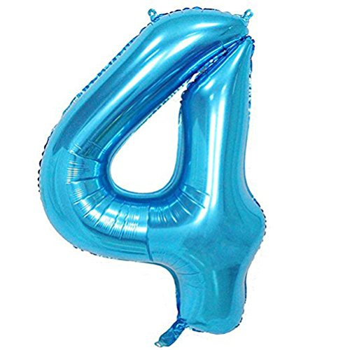 Tellpet Blue Number 4 Balloon, 40 Inch
