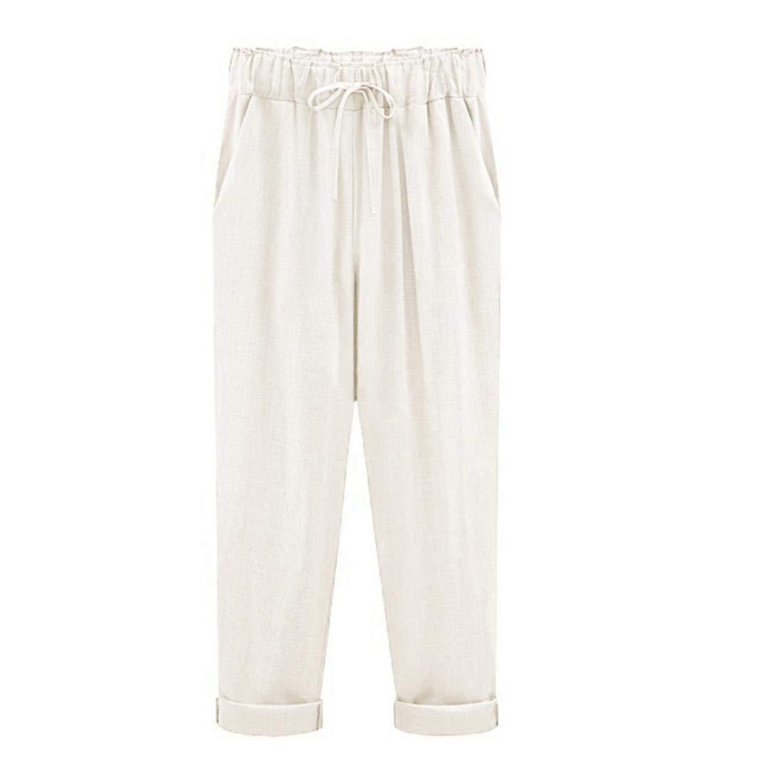 b24b13c3bde1 Amazon.com  UOFOCO Plus Size Linen Pants for Women Summer Slim Lady Pants  Casual Cotton Elastic Waist  Clothing