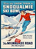 Ride the Snow Train to Snoqualmie The Milwaukee Road Ski Bowl Washington State United States of America Vintage Railroad Travel Advertisement Art Poster Print. Poster measures 10 x 13.5 inches