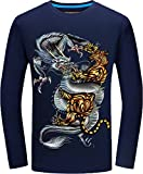 Boys' Spring Autumn Crewneck Long-Sleeved T Shirt Printed Chinese Dragon Blue X-Large Not for Men Recommend Strongly Choosing Two Larger Size Than Usual