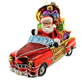 Christopher Radko Vintage Ride Santa Glass Christmas Ornament - 6''L.
